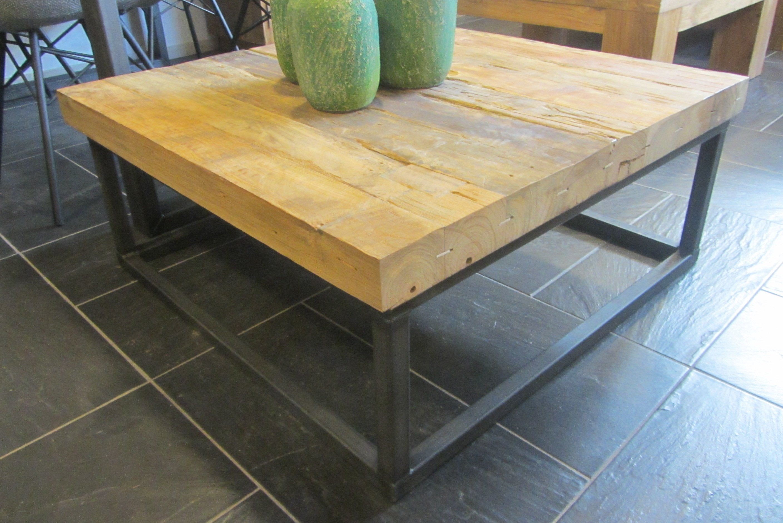 Teak bielzen salontafel vierkant 85 cm industrieel for Salontafel vierkant